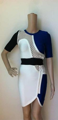 On The Fence Blue White Black Cut Out Lattice Elbow Sleeve Scoop Neck Bandage Bodycon Mini Dress