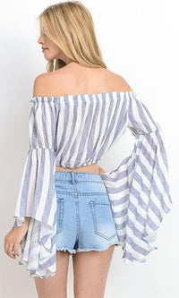 Long Shot Navy White Vertical Stripe Long Bell Sleeve Off The Shoulder Crop Blouse (Pre-Order) - Sold Out