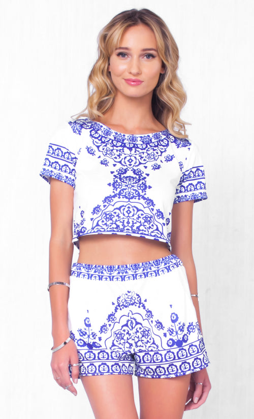 Indie XO Indian Summer White Blue Floral Short Sleeve Scoop Neck Crop Top Pleated Shorts Two Piece Romper