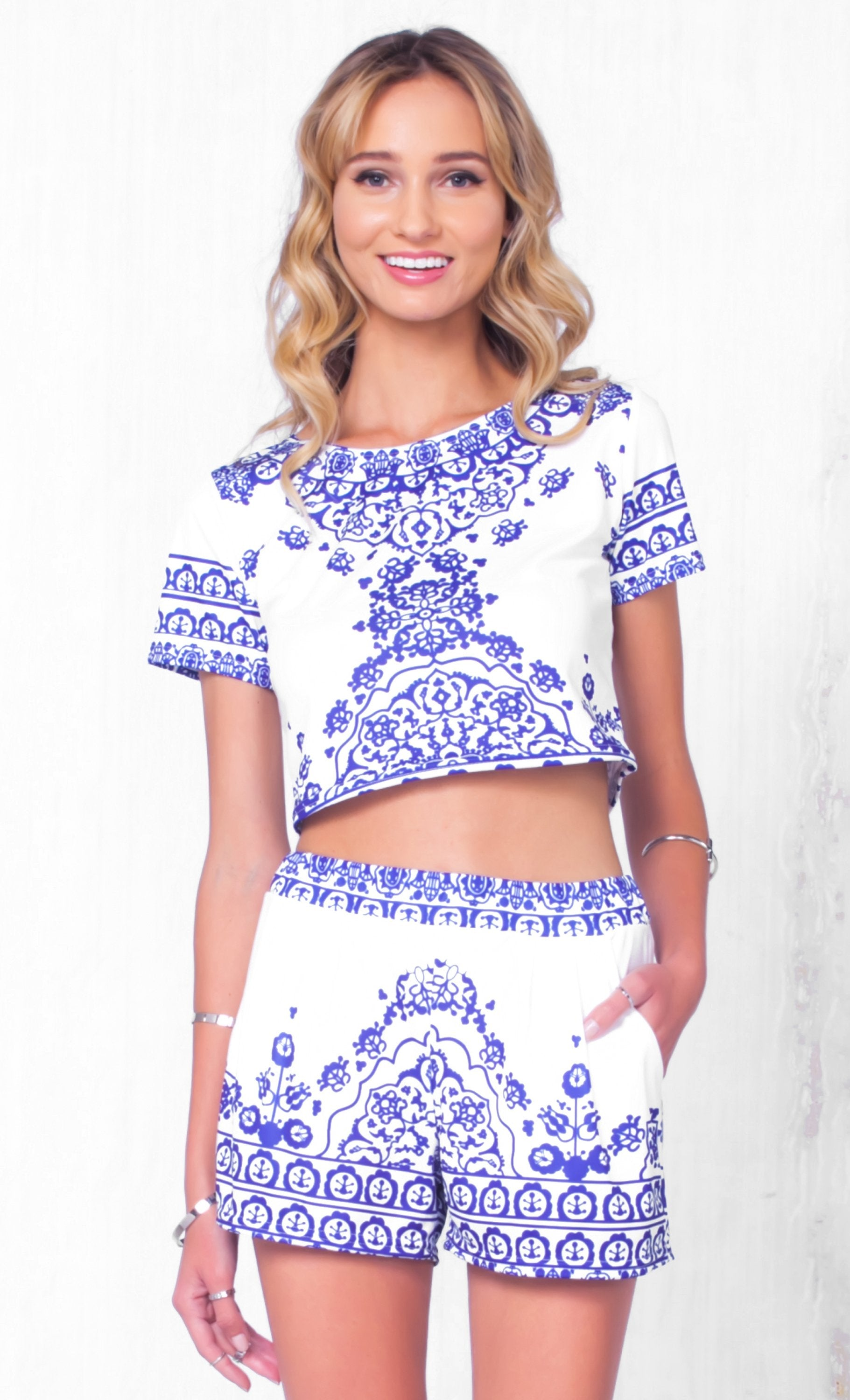 00c2b363a7c9 Indie XO Indian Summer White Blue Floral Short Sleeve Scoop Neck Crop Top  Pleated Shorts Two