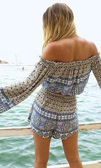 High Tides Blue Yellow White Geometric Long Bell Sleeve Off The Shoulder Tassel Crop Peasant Blouse - Sold Out