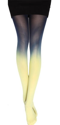 Fade Into You Blue Yellow Dip Dye Ombre Gradient Tights Stockings - Sold Out