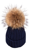 Big Chill Removable Fur Pompom Rib Cuff Beanie Hat - 6 Colors Available