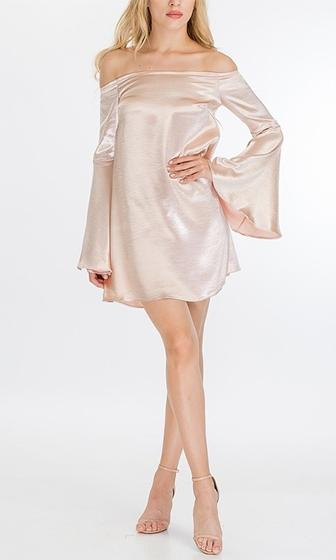 Come Alive Blush Satin Long Bell Sleeve Off The Shoulder Shift Mini Dress