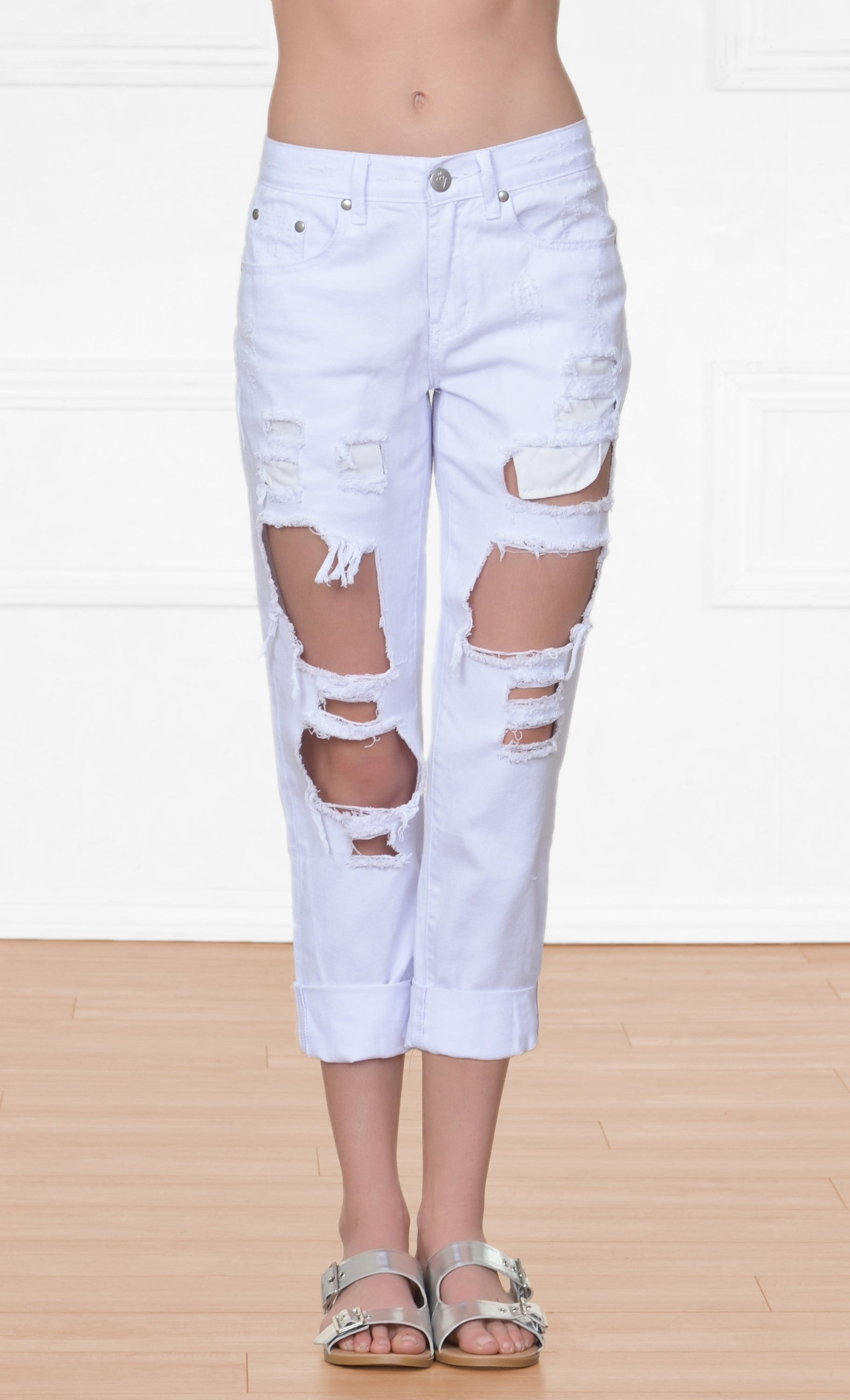 75507fbe9f50b Indie XO Beach Bum White Denim Distressed Destructed Destroyed Boyfriend  Frayed Ripped Jeans Pants
