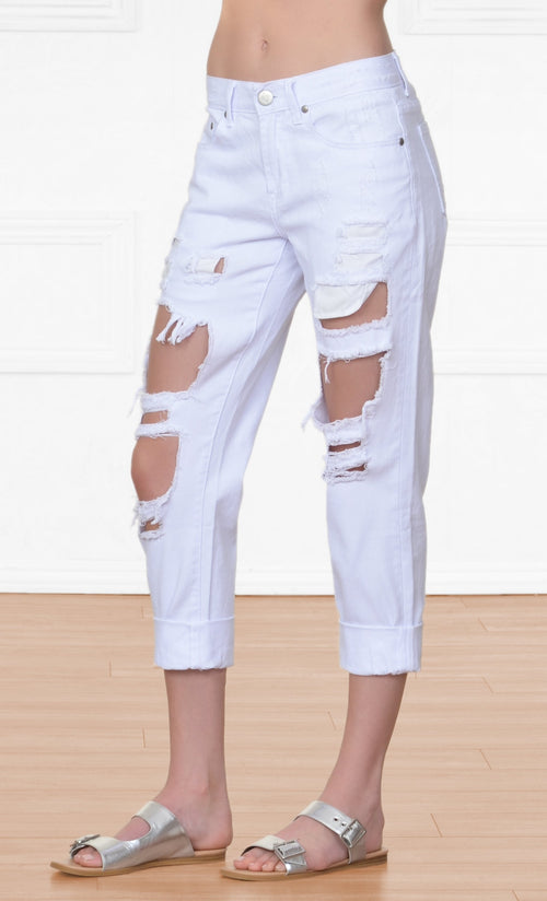 Indie XO Beach Bum White Denim Distressed Destructed Destroyed Boyfriend Frayed Ripped Jeans Pants