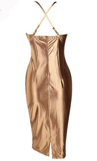 Slay the Game Metallic Bronze Spaghetti Strap Stretch Bustier Bodycon Midi Dress - Inspired by Ariana Maddix - Sold Out