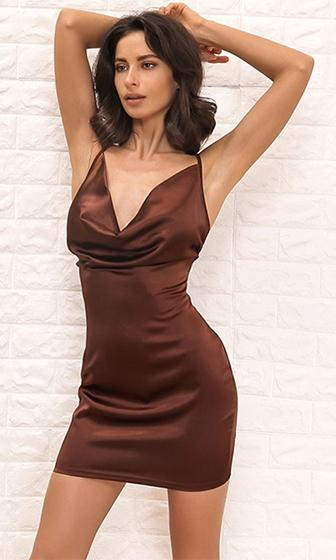 Don't Ask Why Brown Sleeveless Spaghetti Strap V Neck Bodycon Mini Dress