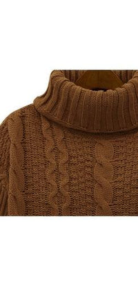 Brown Long Sleeve Turtleneck Chunky Cable Knit Pullover Sweater - Sold Out