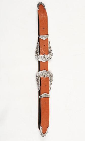Buckle Down Brown Silver Double Buckle Western Belt