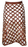 Open Up Brown Faux Leather Lattice Cut Out Tie Waist Midi Skirt - Sold Out