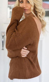 High Alert Brown Long Sleeve Deep V Loose Pullover Sweater  -  Sold Out