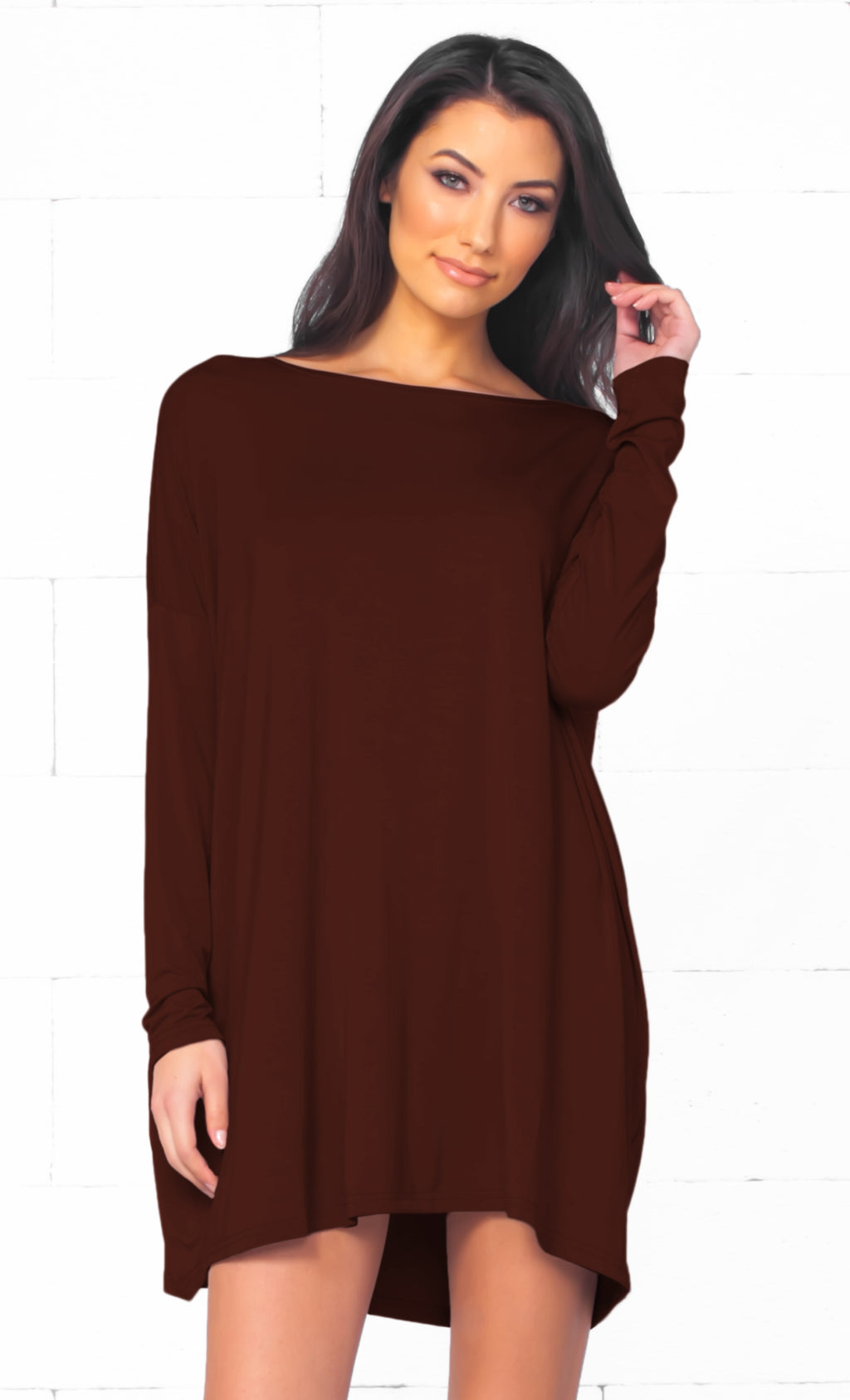 Piko 1988 Chocolate Brown Long Sleeve Scoop Neck Piko Bamboo Oversized Basic Tunic Tee Shirt Mini Dress