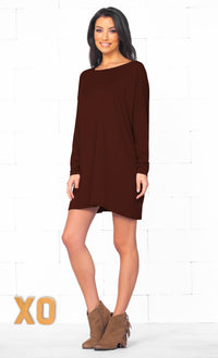 Chocolate Brown Long Sleeve Scoop Neck Piko Bamboo Oversized Tunic Tee Shirt Top - Sold Out