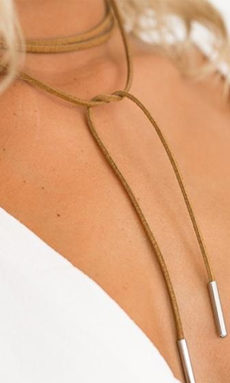 Come To Me Brown Gold Suede String Rope Wrap Choker Necklace