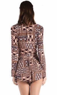 Be Cool Be Calm Brown Beige White Geometric Tribal Long Sleeve Twist Wrap V Neck Cut Out Waist Romper Playsuit - Sold Out