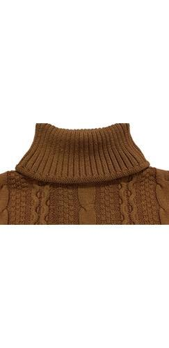 By The Fire Brown Long Sleeve Turtleneck Chunky Cable Pullover Sweater - Sold Out