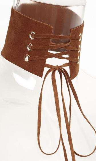 High Fidelity Brown Velvet Ribbon Lace Up Choker Necklace