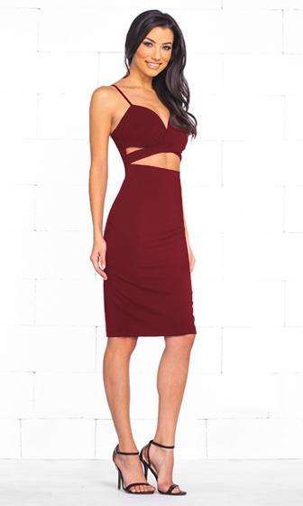 Indie XO Total Bombshell Burgundy Wine Spaghetti Strap V Neck Cut Out Bodycon Midi Dress - Just Ours! - Sold Out