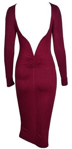 Burgundy Wine Long Sleeve Scoop Neck V Back Bodycon Midi Dress - Sold out