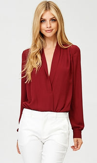 Pretty and Polished Burgundy Wine Long Sleeve Chiffon Cross Wrap V Neck Bodysuit - Sold Out