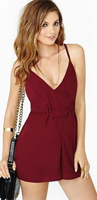 Burgundy Wine Spaghetti Strap V Neck Crisscross Tie Back Belt Chiffon Short Romper - Sold Out