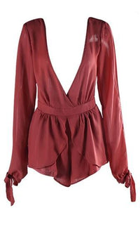 Feel The Love Burgundy Wine Chiffon Long Slit Sleeve Cross Wrap V Neck Tulip Romper Playsuit