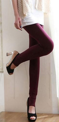 Burgundy Wine Fleece Lined Control Top Opaque Toeless Compression Stretch Leggings Pants - Sold Out