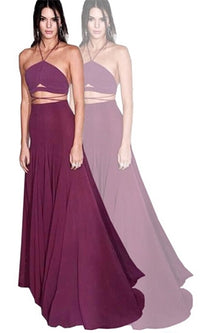 To The Point Burgundy Wine Spaghetti Strap Halter Crisscross Strap Crop Tank Top Maxi Two Piece Dress - Sold Out