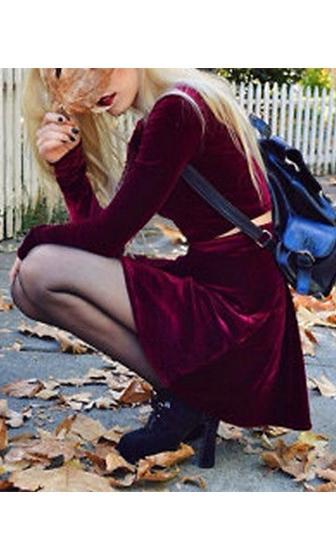 Made The Cut Burgundy Wine Velvet Long Sleeve Scoop Neck Crop Top Skater Circle A Line Flare Two Piece Mini Dress - Sold Out