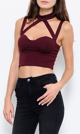 City Girl Burgundy Wine Sleeveless Mock Neck Cut Out Bustier Crop Top - Sold Out