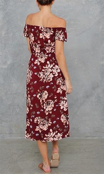 Folk Lore Burgundy Wine Ivory Brown Blue Floral Short Sleeve Off The Shoulder Split Front Maxi Dress Romper - Sold Out