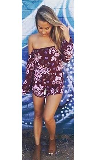 Natural Beauty Burgundy Wine White Brown Floral Long Bell Sleeve Off The Shoulder Tassel Tie Waist Romper Playsuit - Sold out