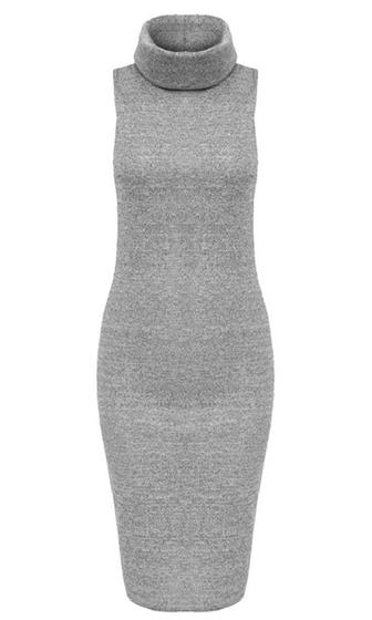 Front Page Burgundy Wine Sleeveless Turtleneck Bodycon Midi Dress