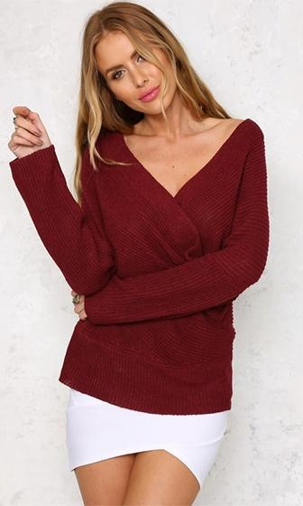 Can't Complain Burgundy Wine Long Sleeve Cross Wrap V Neck Off The Shoulder Pullover Sweater