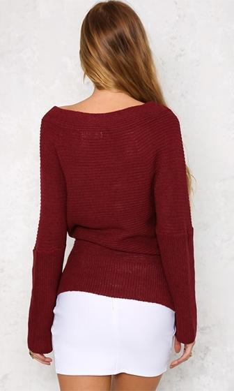 Can't Complain Burgundy Wine Long Sleeve Cross Wrap V Neck Off The Shoulder Pullover Sweater - Sold Out