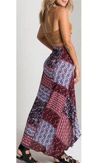 Cosmic Guide Burgundy Wine Red Blue Purple White Boho Patchwork Tie Waist Wrap Asymmetric Midi Maxi Skirt  -  Sold Out