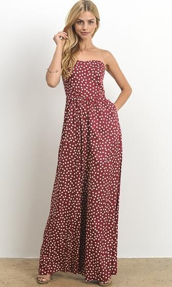 Living The Dream Burgundy Polka Dot Strapless Wide Leg Jumpsuit (Pre-Order) - Sold Out