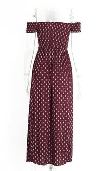 Show Me More Burgundy Wine Short Sleeve Off The Shoulder Cross Print Side Slit Maxi Dress - Sold Out