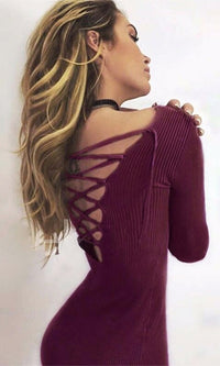 Full Disclosure Burgundy Wine Long Sleeve Plunge V Neck Lace Up Bodycon Rib Knit Sweater Midi Dress - Sold Out