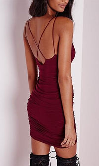 In The Club Burgundy Wine Double Spaghetti Strap Plunge V Neck Ruched Bodycon Mini Dress - Sold Out