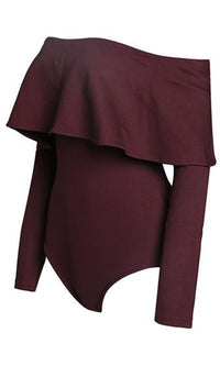 Twerk It Out Burgundy Wine Long Sleeve Off The Shoulder Ruffle Tier Bodysuit - Sold Out