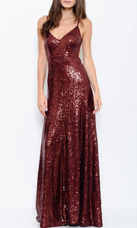 Ready For You Burgundy Wine Sequin Spaghetti Strap V Neck Backless Maxi Dress - Sold Out