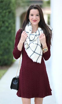 Break The Ice Burgundy Wine Long Sleeve Cable Skater A Line Flare Sweater Mini Dress- Sold Out