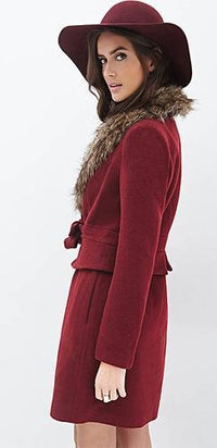 She's A Lady Burgundy Wine Brown Long Sleeve Faux Fur Trim Tie Belt Long Winter Coat - Sold Out