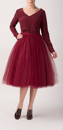 Burgundy Wine Tulle Pleated Ballerina A Line Full Midi Skirt - Sold Out