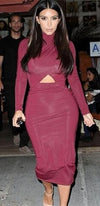 Burgundy Wine Long Sleeve Turtleneck Cut Out Waist Bodycon Midi Dress - Sold out