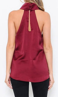 Yours Truly Burgundy Wine Sleeveless Turtleneck Halter Keyhole High Low Tank - Sold Out