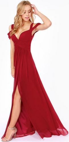 Farewell My Love Burgundy Wine Off The Shoulder Draped Sleeve V Neck Maxi Dress Evening Gown - Sold Out