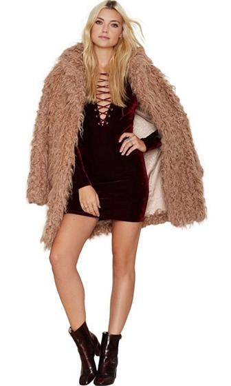 Passionate Persuasion Burgundy Wine Velvet Long Sleeve Plunge V Neck Lace Up Bodycon Mini Dress - Sold Out